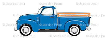 Vintage blue truck on white fabric littlearrowdesign for Little blue truck fabric