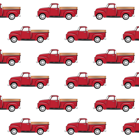 vintage red truck fabric by littlearrowdesign on Spoonflower - custom fabric