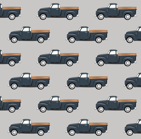 Vintage truck dark blue on grey fabric for Little blue truck fabric
