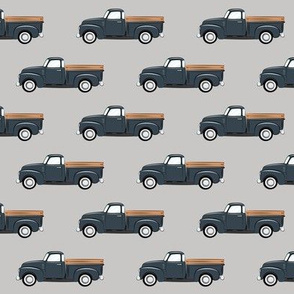 vintage truck - dark blue on grey