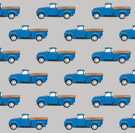 vintage blue truck on grey fabric littlearrowdesign