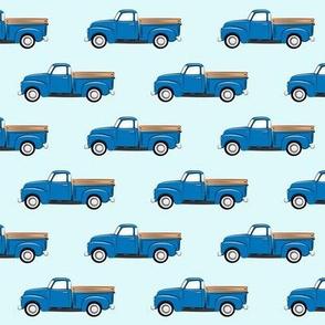 vintage truck - blue on blue