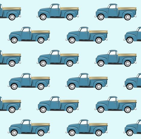 vintage blue truck on blue fabric littlearrowdesign