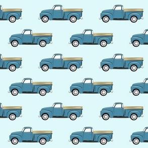 vintage blue truck on blue