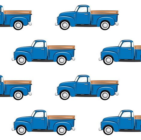 vintage trucks on white (large scale) fabric by littlearrowdesign on Spoonflower - custom fabric