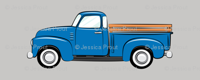 Vintage trucks on grey large scale fabric for Little blue truck fabric