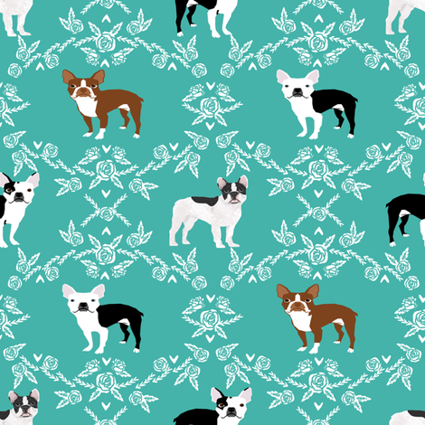 Bostons and Frenchie Custom design fabric by petfriendly on Spoonflower - custom fabric