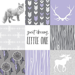Sweet Dreams Patchwork- Lilac and Grey - Purple southwest dreamcatchers and woodland animals Wholecloth quilt