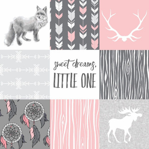 Sweet Dreams Patchwork in Pink and Grey - woodland animals, dream catchers, southwest, fox