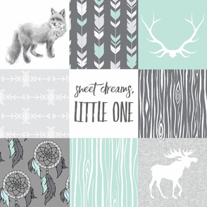 Sweet Dreams Patchwork in Mint and Grey - woodland animals, southwest BoHo, fox, moose