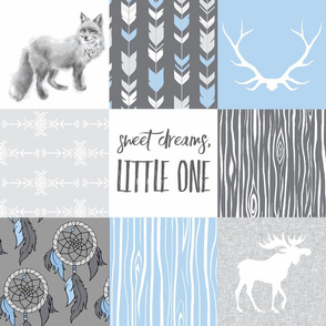 Sweet Dreams Patchwork - Baby Blue and Grey - woodland animals, southwest dreamcatchers - fox and moose