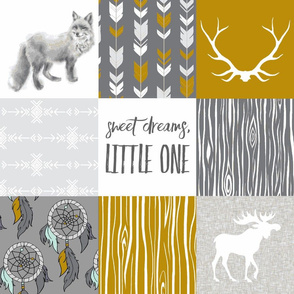 Sweet Dreams Patchwork in Gold and Grey - woodland animals, southwest, fox, Moose, dreamcatchers