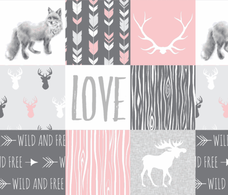 LOVE Woodland animal Patchwork - pink and grey - girl nursery - Moose fox deer fabric by sugarpinedesign on Spoonflower - custom fabric