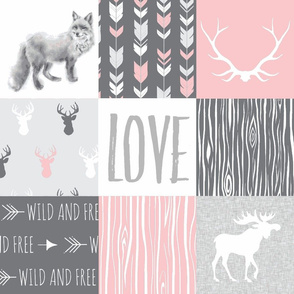 LOVE Woodland animal Patchwork - pink and grey - girl nursery - Moose fox deer