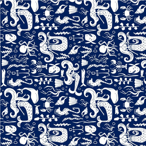 Under The Sea Tea Towel - Nautical Mermaid Navy Blue