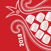 German 2018 Calendar, Monday / Pomegranate