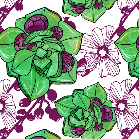 succulent purple fabric by silverliningstudiosnm on Spoonflower - custom fabric