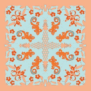 Hawaiian Geckos Baby Cheater Quilt Pattern - Blue Orange