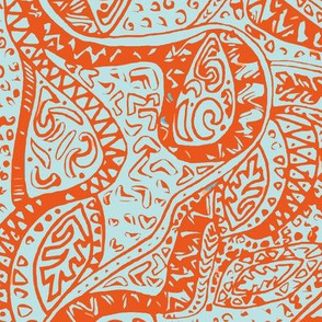 Hawaiian Ancient Pattern - Blue Orange