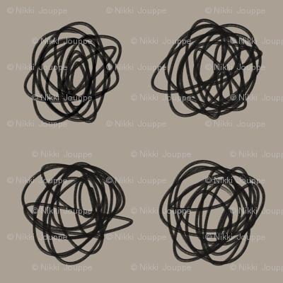 Gray black knotty scribble