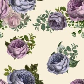 "7"" Purple, Lilac & Plum  Florals / Taupe"