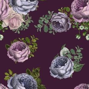 """7"""" Purple, Lilac & Plum Florals  / Dark Plum Background"""