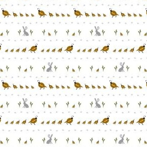 Quail Family, with bunny and sage, brown