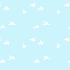 Quail take Flight, blue