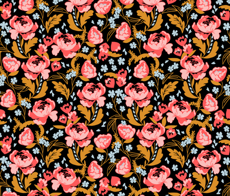 Dark Floral fabric by acdesign on Spoonflower - custom fabric