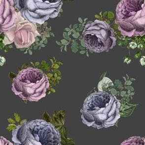 "7"" Purple, Lilac & Plum Florals  / Grey Background"