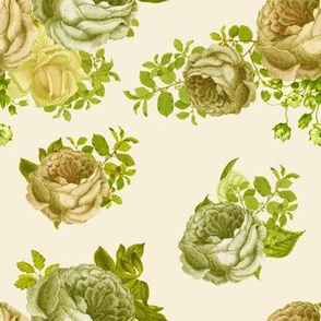 """7"""" Washed Out Yellow Vintage Roses / Taupe"""