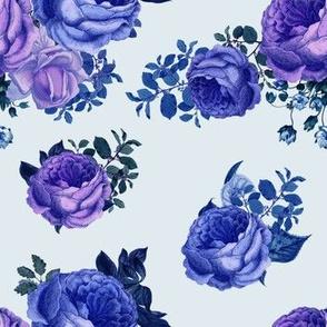 7' Purple Vintage Washed Florals / Blue