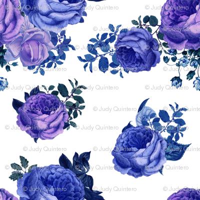 "7"" Purple Vintage Washed Florals / White"