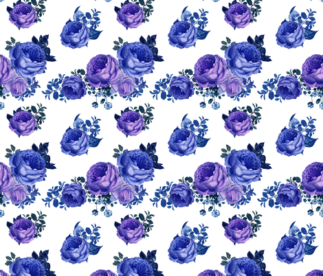 """7"""" Purple Vintage Washed Florals / White fabric by shopcabin on Spoonflower - custom fabric"""
