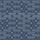 Tea Towel - Leaves on Dark blue