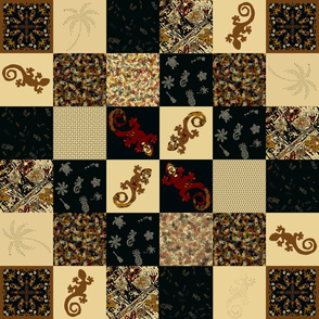 Hawaiian Geckos Cheater Quilt 6 x 6 squares Bronze Red Ivory Black Collection