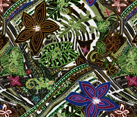 Pointillism - Hawaiian Geckos and Flowers in the Tropical Forest fabric by kedoki on Spoonflower - custom fabric