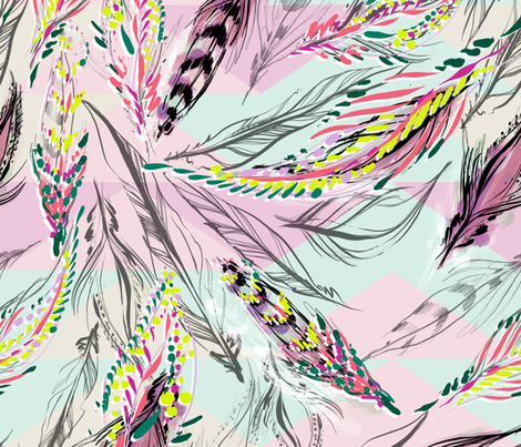 FEATHER MAGIC_EXPLODED fabric by pattern_state on Spoonflower - custom fabric