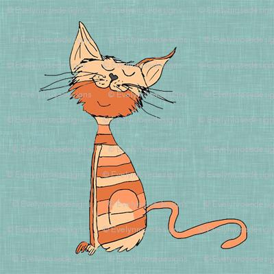 Marmalade_cat on blue linen