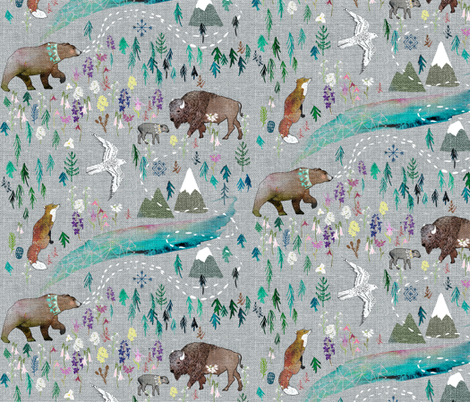 Summer Aurora  fabric by nouveau_bohemian on Spoonflower - custom fabric