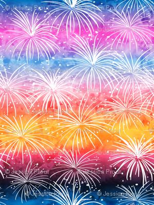 fireworks at sunset