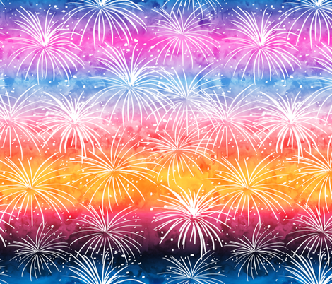 fireworks at sunset fabric by littlearrowdesign on Spoonflower - custom fabric