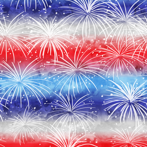 (small scale) america - watercolor fireworks fabric by littlearrowdesign on Spoonflower - custom fabric