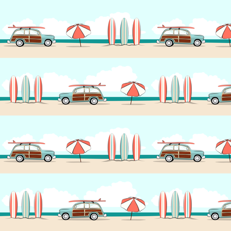 retro surfer wagon fabric by littlearrowdesign on Spoonflower - custom fabric