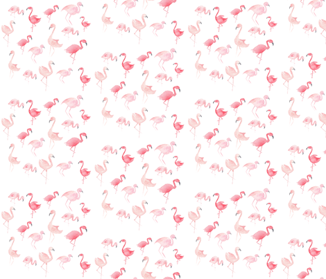 Watercolor Pink Flamingos fabric by hipkiddesigns on Spoonflower - custom fabric