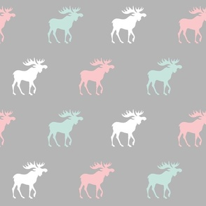 Big Moose - mint, pink, white and gray