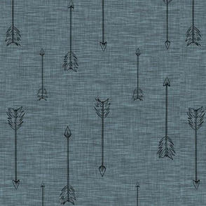 Arrows on Linen - Slate Blue