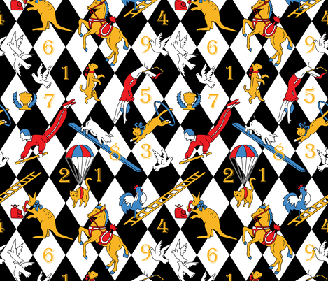 Retro circus table game fabric by marta_strausa on Spoonflower - custom fabric