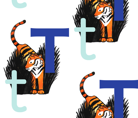 T for Tiger fabric by karensawesomethings on Spoonflower - custom fabric