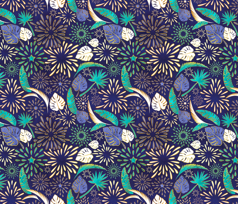 Tropical fireworks fabric by selmacardoso on Spoonflower - custom fabric